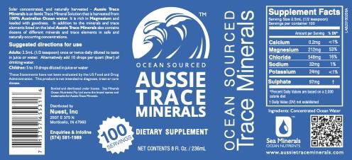 Aussie Trace Minerals Label